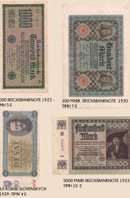 3 REICHSBANKNOTE GERMAN AND 1 SLOVENIAN  - BANK NOTES