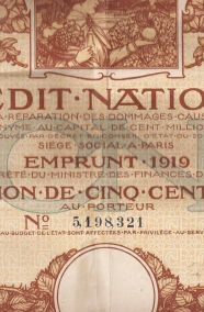 CREDIT NATIONAL-  EMPRUNT 1919 - OBLIGATION DE  CINQ CENTS FRANCS