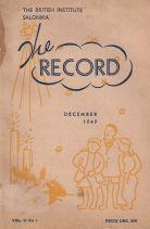 THE RECORD (VOLUME 2, NO 1) DECEMBER 1949